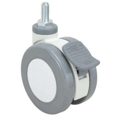 3-15/16 in. Grey and White Swivel with Brake Threaded Stem Caster, 176 lb. Load Rating