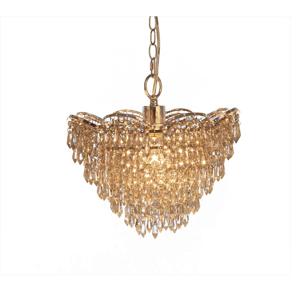 River of Goods 1-Light Clear Chandelier with Cascading Crystal Glass Shade