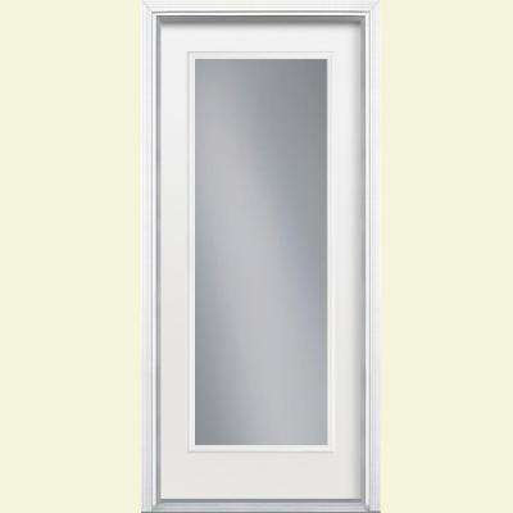 32 in. x 80 in. Primed White Left-Hand Inswing Clear Full Lite Fiberglass Prehung Front Door with BM in Vinyl Frame