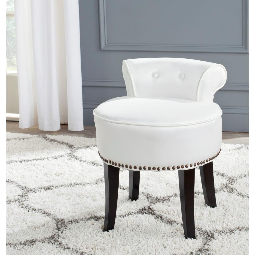 Superb Safavieh Georgia White Poly Cotton Vanity Stool Mcr4546T Bralicious Painted Fabric Chair Ideas Braliciousco