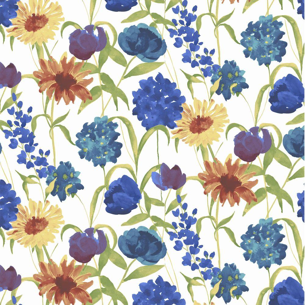 Graham & Brown 56 sq. ft. Summer Bloom Blue Wallpaper-DISCONTINUED