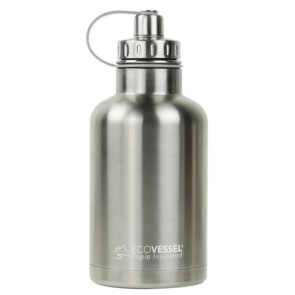64 oz. Boss Triple Insulated Growler with Screw Cap - Silver