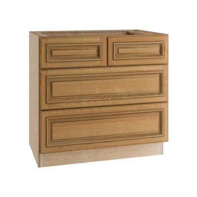 Clevedon Assembled 36x34.5x24 in. Double False Front & 2 Deep Drawers Base Kitchen Cooktop Cabinet in Toffee Glaze