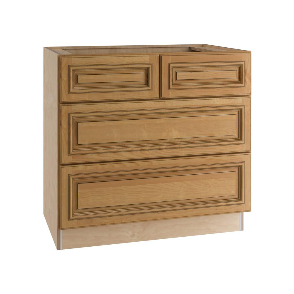 Clevedon Assembled 36x34.5x24 in. 4 Drawers Base Kitchen Cabinet in Toffee