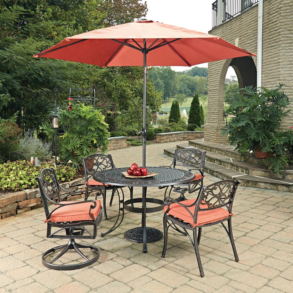 Cast Aluminum Patio Furniture Heart Pattern: Home Styles Biscayne Rust Bronze 7-Piece Cast Aluminum