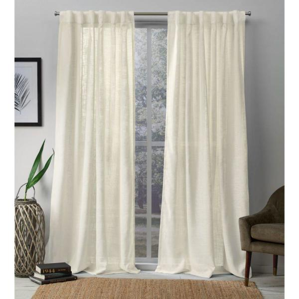 Bella Ivory Sheer Hidden Tab Top Curtain Panel 54 in. W x 84 in. L (2 Panels)
