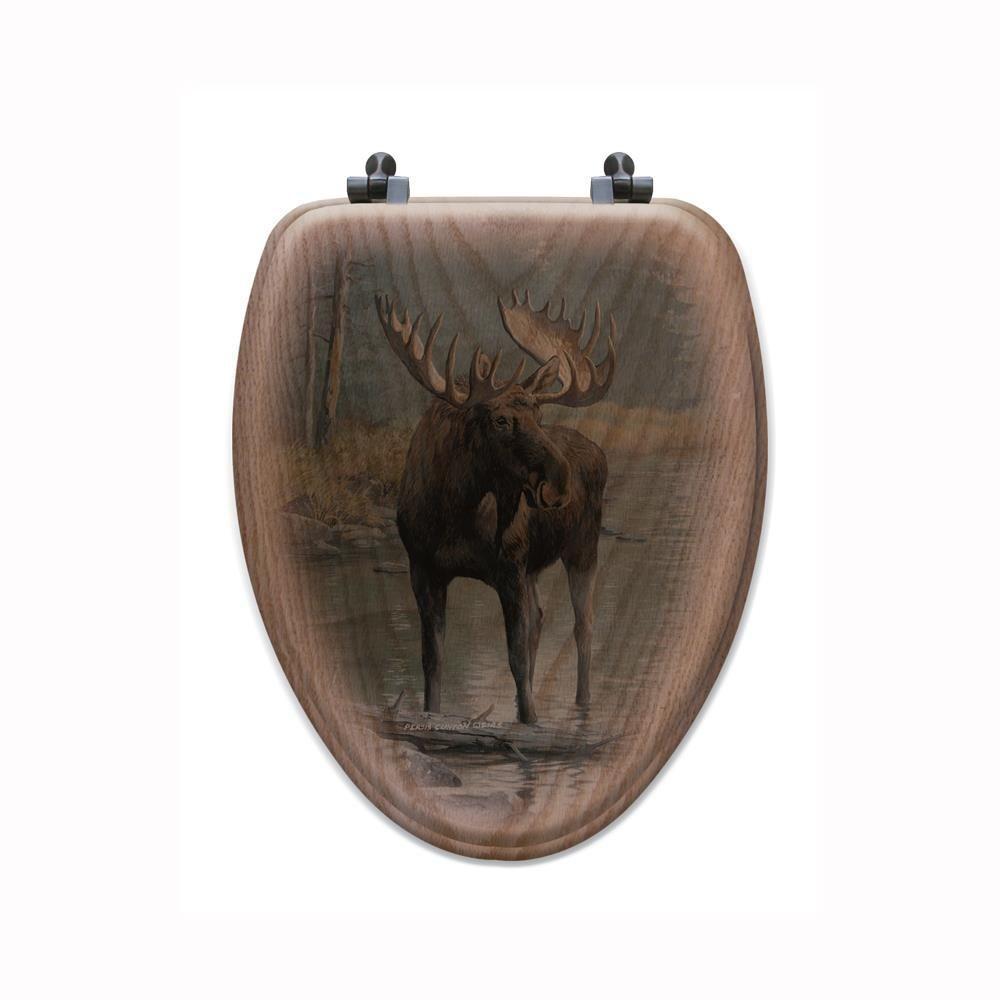 Quiet Water Moose Elongated Closed Front Wood Toilet Seat in Oak Brown