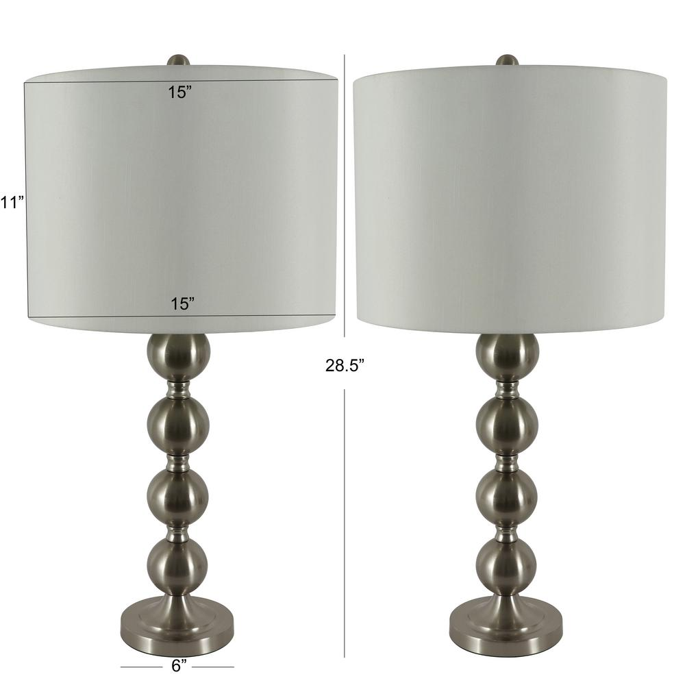 Decor Therapy Sadie 28 In Brushed Steel Stacked Ball Table Lamp