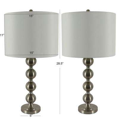 Sadie 28 in. Brushed Steel Stacked Ball Table Lamp with Shade ( Set of 2)