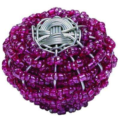 Bollywood 1-1/2 in. Rasberry & Silver Cabinet Knob