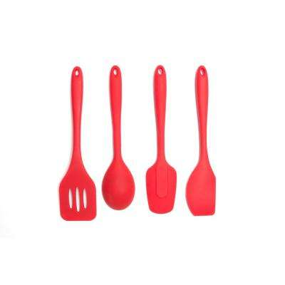 Essential Silicone Red Utensils (Set of 4)