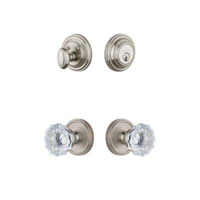 Georgetown Plate 2-3/8 in. Backset Satin Nickel Fontainebleau Crystal Door Knob with Single Cylinder Deadbolt