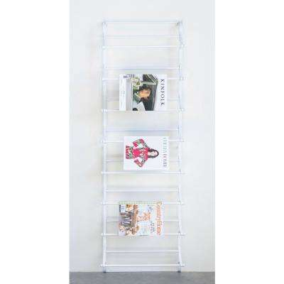 21 in. x 8.5 in. x 63.25 in. White Metal Wall Rack with Brackets