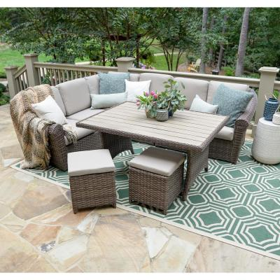 Walton 7-Piece Wicker Outdoor Sectional with Tan Cushions