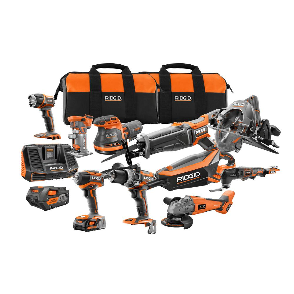 Ridgid 18 Volt Cordless 10 Piece Combo Kit With 1 4 0 Ah