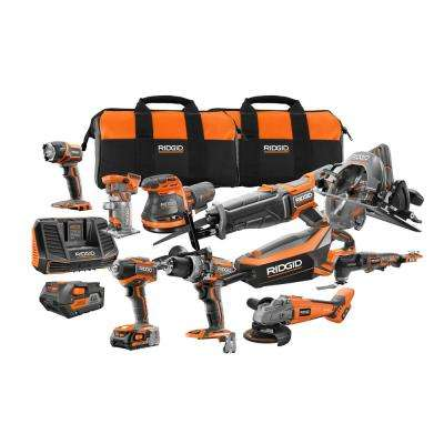 18-Volt Cordless 10-Piece Combo Kit with (1) 4.0 Ah Battery and (1) 2.0 Ah Battery, Charger, and Bag