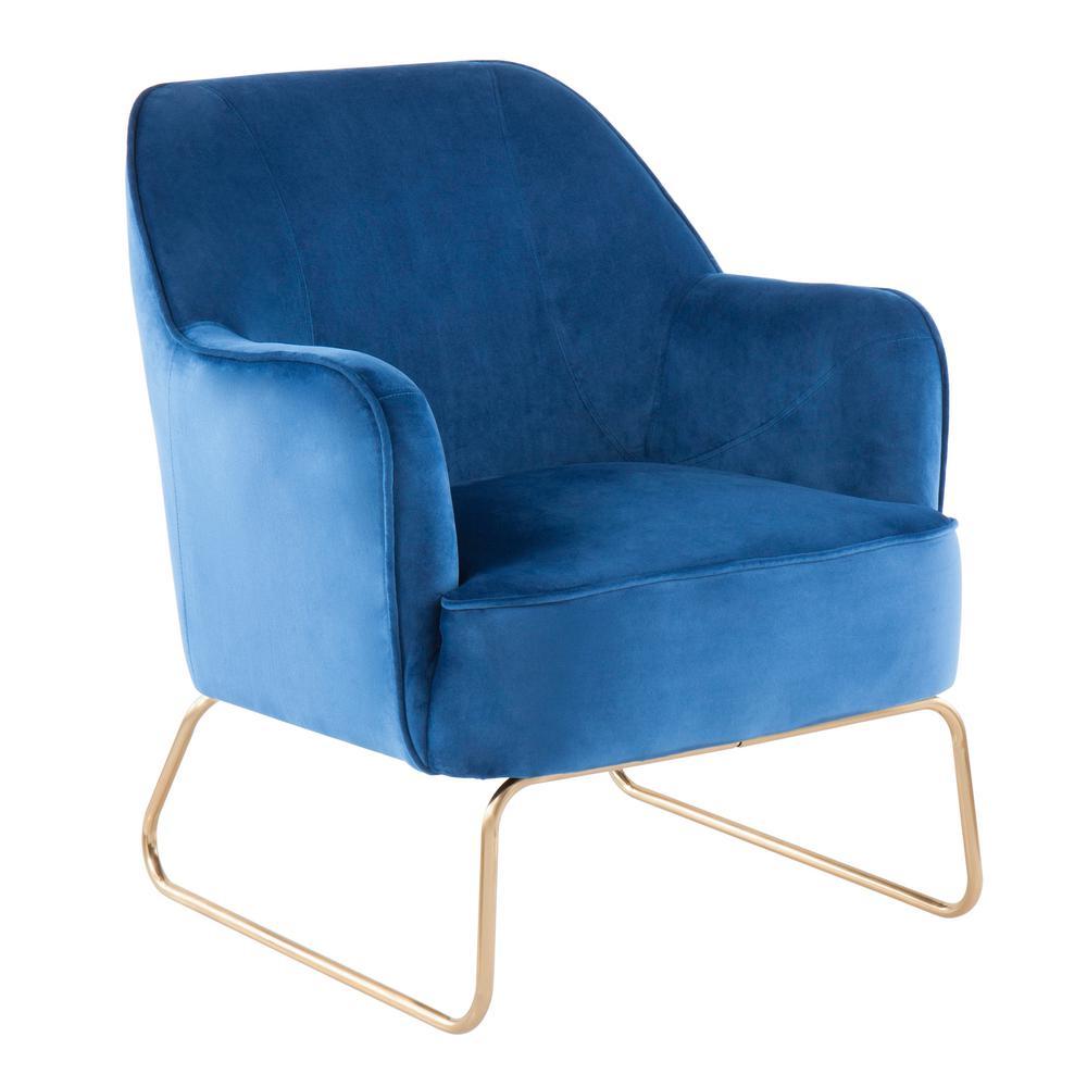 Daniella Blue Velvet Accent Chair with Gold Sleigh Legs