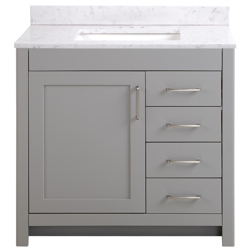 Home Decorators Collection Westcourt 37 in. W x 22 in. D Bath Vanity in Sterling Gray with Stone Effect Vanity Top in Pulsar with White Sink