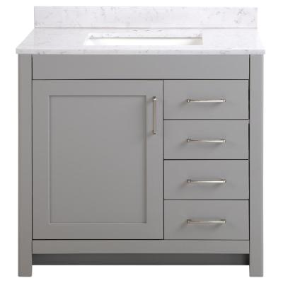 Westcourt 37 in. W x 22 in. D Bath Vanity in Sterling Gray with Stone Effect Vanity Top in Pulsar with White Sink