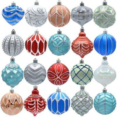 snowtop dazzle 80 mm assorted ornament - Teal Christmas Ornaments