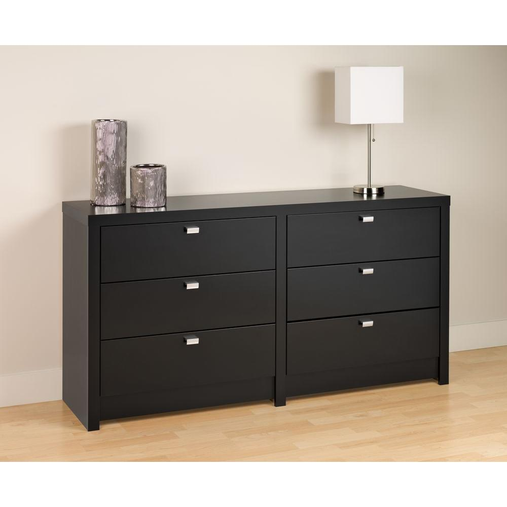 Prepac Series 9 6-Drawer Black Dresser