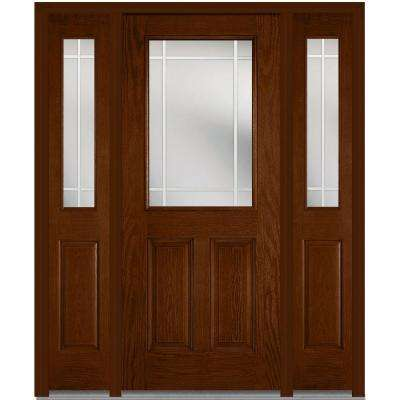 60 in. x 80 in. Internal Grilles Left-Hand 1/2-Lite Clear Stained Fiberglass Oak Prehung Front Door with Sidelites