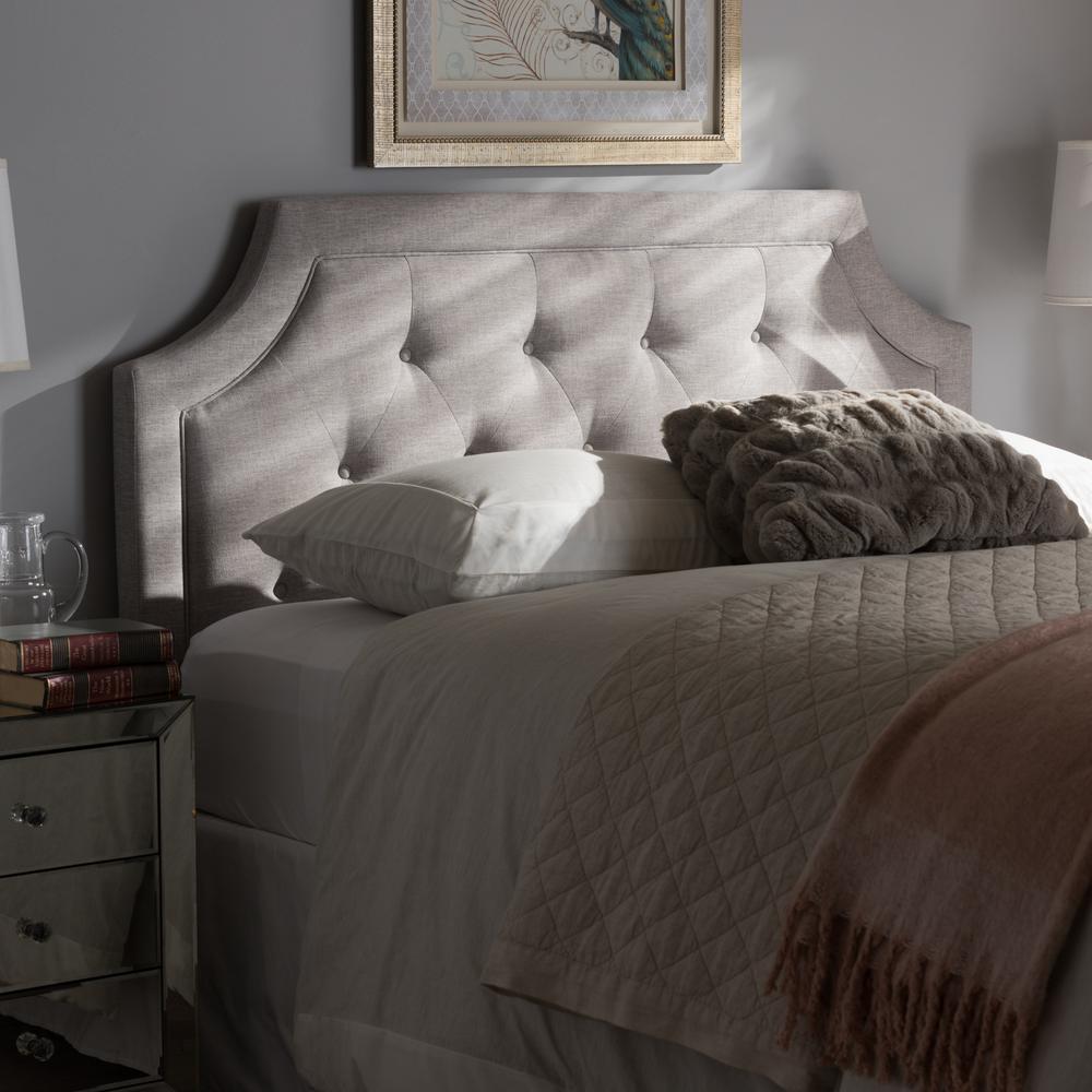 Mars Greyish Beige Fabric Upholstered King Size Headboard