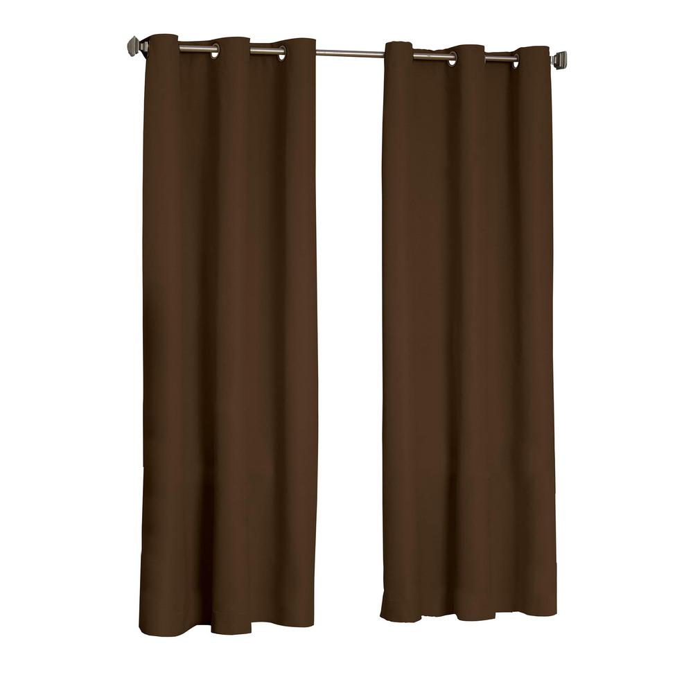 Eclipse Microfiber Blackout Window Curtain Panel in Chocolate - 42 in. W x 63 in. L