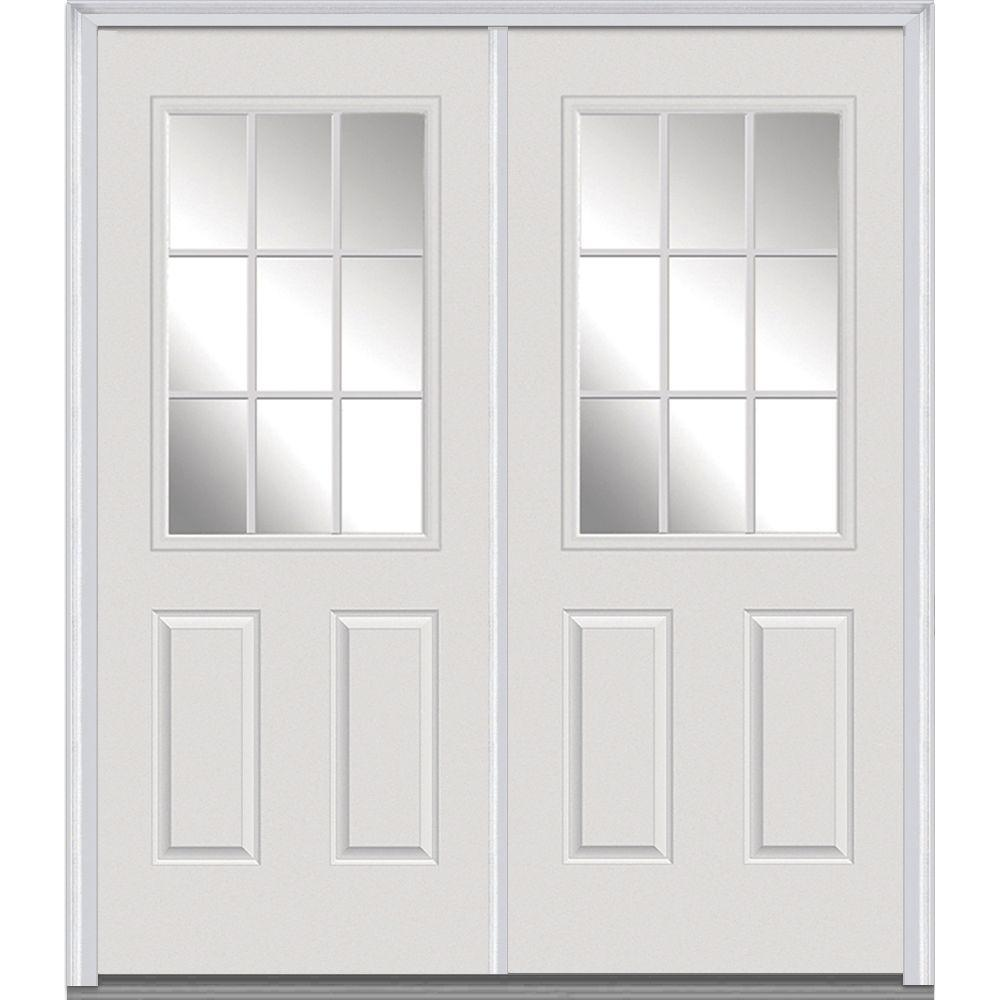 MMI Door 64 in. x 80 in. White Internal Grilles Right-Hand Inswing 1/2-Lite Clear Painted Fiberglass Smooth Prehung Front Door