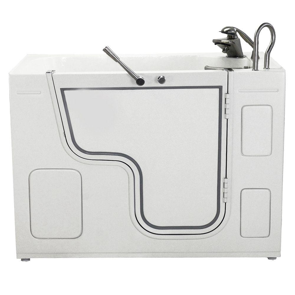 Ella Wheelchair Transfer Hydrotherapy Massage Outward Swing 4 ft. Walk-In Bathtub in White with Left Drain