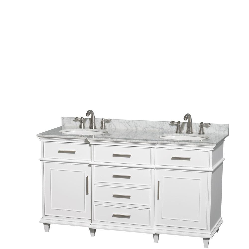 Wyndham Collection Berkeley 60 in. Double Vanity in White with Marble Vanity Top in Carrara White and Oval Basin