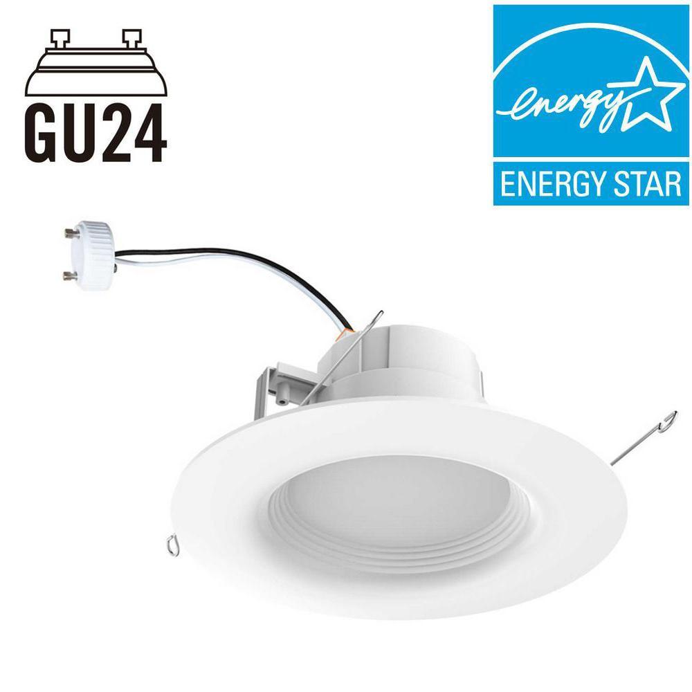 EcoSmart 65-Watt Equivalent Daylight 6 in. GU24 White Integrated LED Recessed Trim