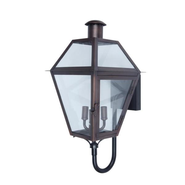 Home Decorators Collection 3 Light Brass Outdoor Wall Lantern Sconce 5272001 The Home Depot