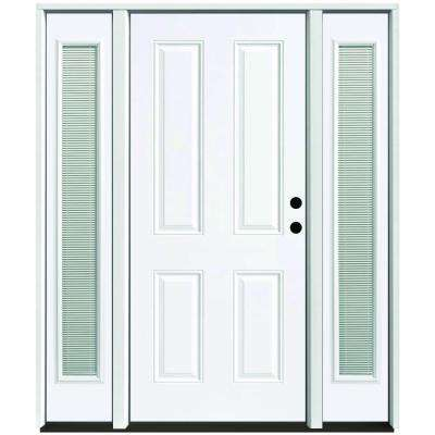 64 in. x 80 in. 4-Panel Primed White Left-Hand Steel Prehung Front Door with 12 in. Mini Blind Sidelites 6 in. Wall