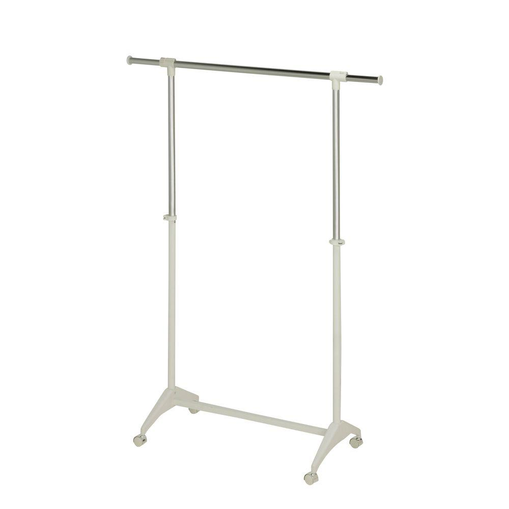 Modern Adjustable Steel Rolling Garment Rack in Chrome/White