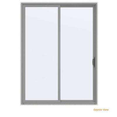 72 in. x 96 in. V-4500 Contemporary Silver Painted Vinyl Right-Hand Full Lite Sliding Patio Door w/White Interior