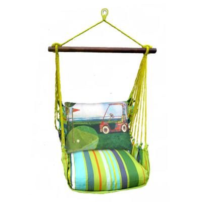 3-Piece Wood Polyester Cushioned Porch Swing with Golf Cart Print Back Pillow