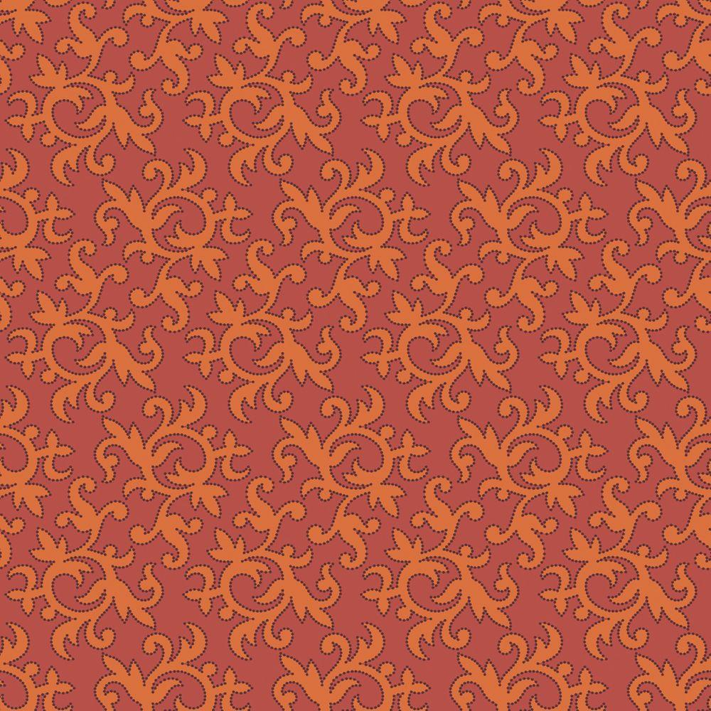 The Wallpaper Company 56 sq. ft. Orange Modern Small Swirl and Leaf Wallpaper