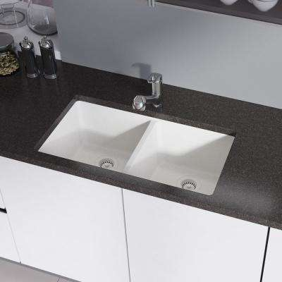 Undermount Composite Granite 32-1/2 in. Double Bowl Kitchen Sink in Ivory
