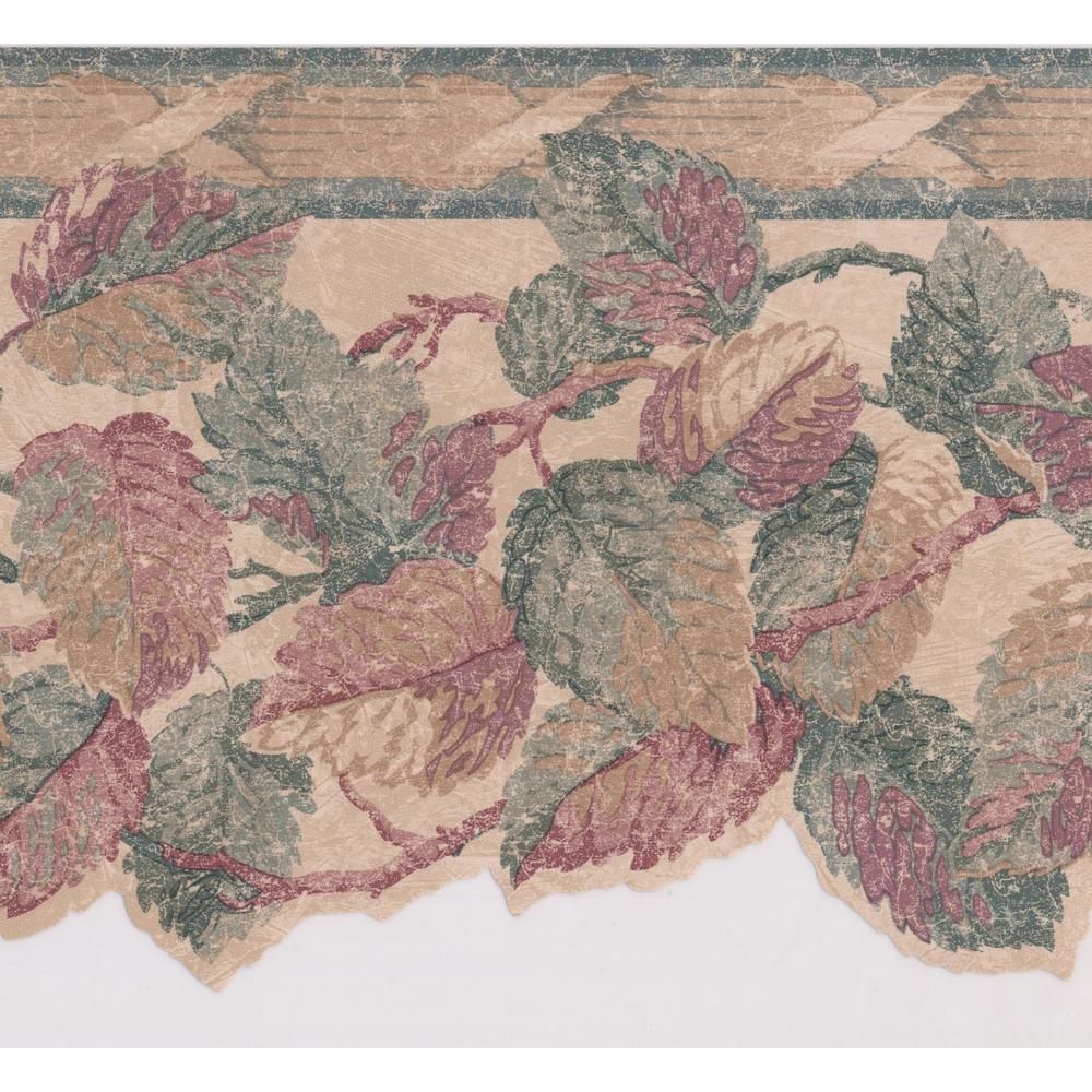 Retro Art Red Green Brown Leaves Vintage Prepasted Wallpaper Border FK20154B