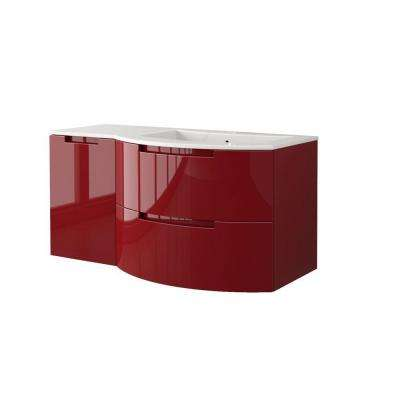 Oasi 43 in. Vanity in Glossy Red with Tekorlux Vanity Top in White with White Basin