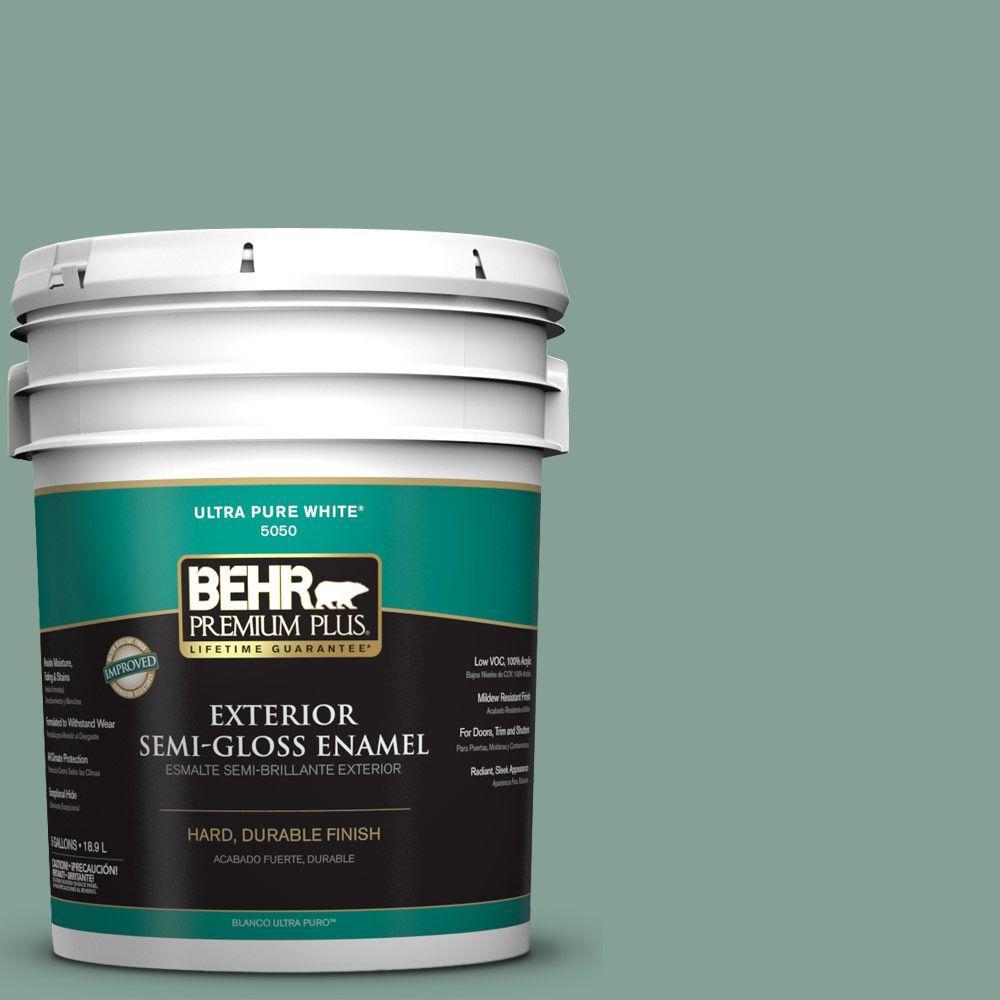 5-gal. #S420-4 Australian Jade Semi-Gloss Enamel Exterior Paint