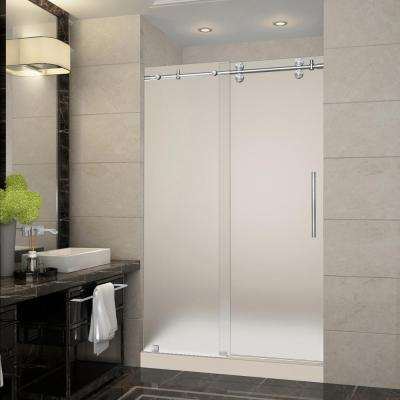 Langham 48 in. x 36 in. x 77.5 in. Frameless Sliding Shower Door with Frosted in Stainless Steel with Center Base