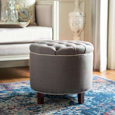 Amelia Charcoal Brown Storage Ottoman