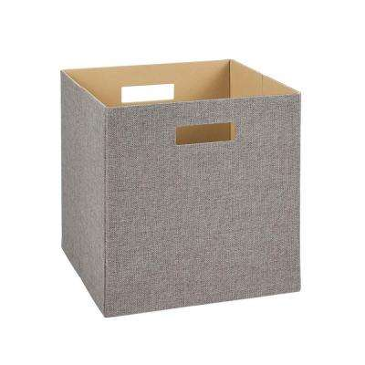 13 in. H x 13 in. W x 13 in. D Decorative Fabric Storage Bin in Gray