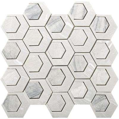 Catalyst Saturn 12.6 in. x 13.62 in. x 8 mm Cast Stone Mesh-Mounted Mosaic Tile