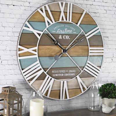 24 in. Maritime Distressed Teal Planks Wall Clock
