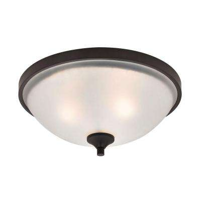 Arlington 3-Light Oil-Rubbed Bronze Flushmount With White Glass Shade