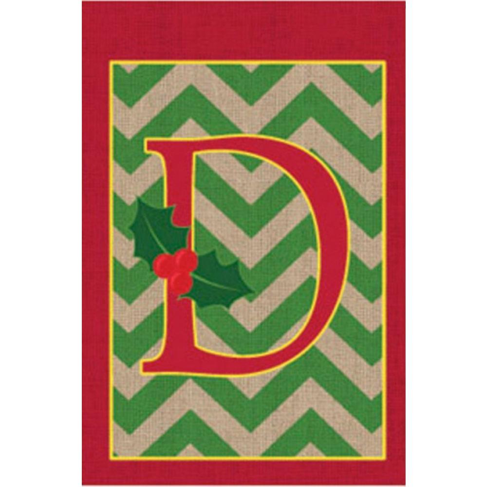 1 ft. x 1.5 ft. Monogrammed D Holly Burlap Garden Flag