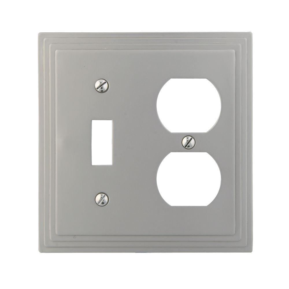 Hampton Bay Tiered 1 Toggle 1 Duplex Combination Wall Plate - Satin Nickel Cast